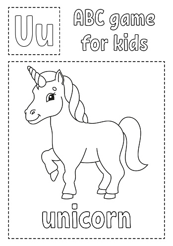 Letter U is for unicorn. ABC game for kids. Alphabet coloring page. Cartoon character. Word and letter. Vector illustration.