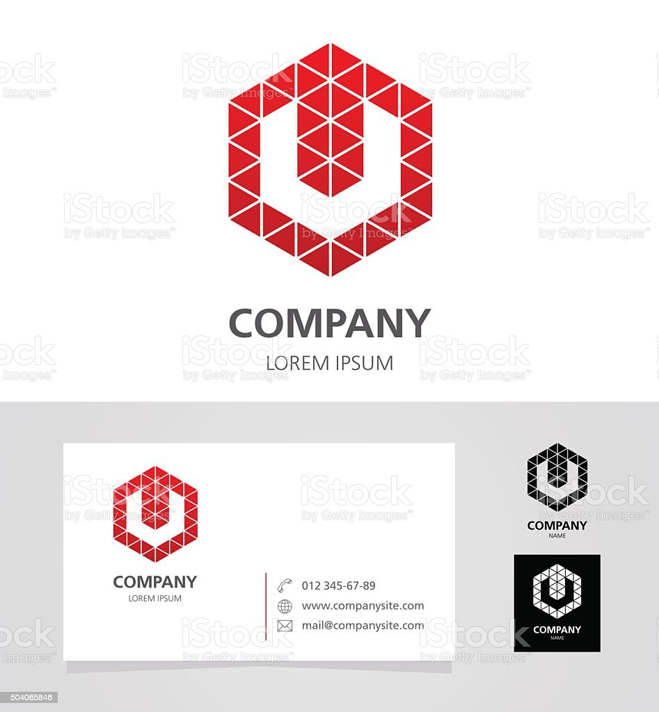 Letter U - Logo Design Element with Business Card - illustration vector art illustration