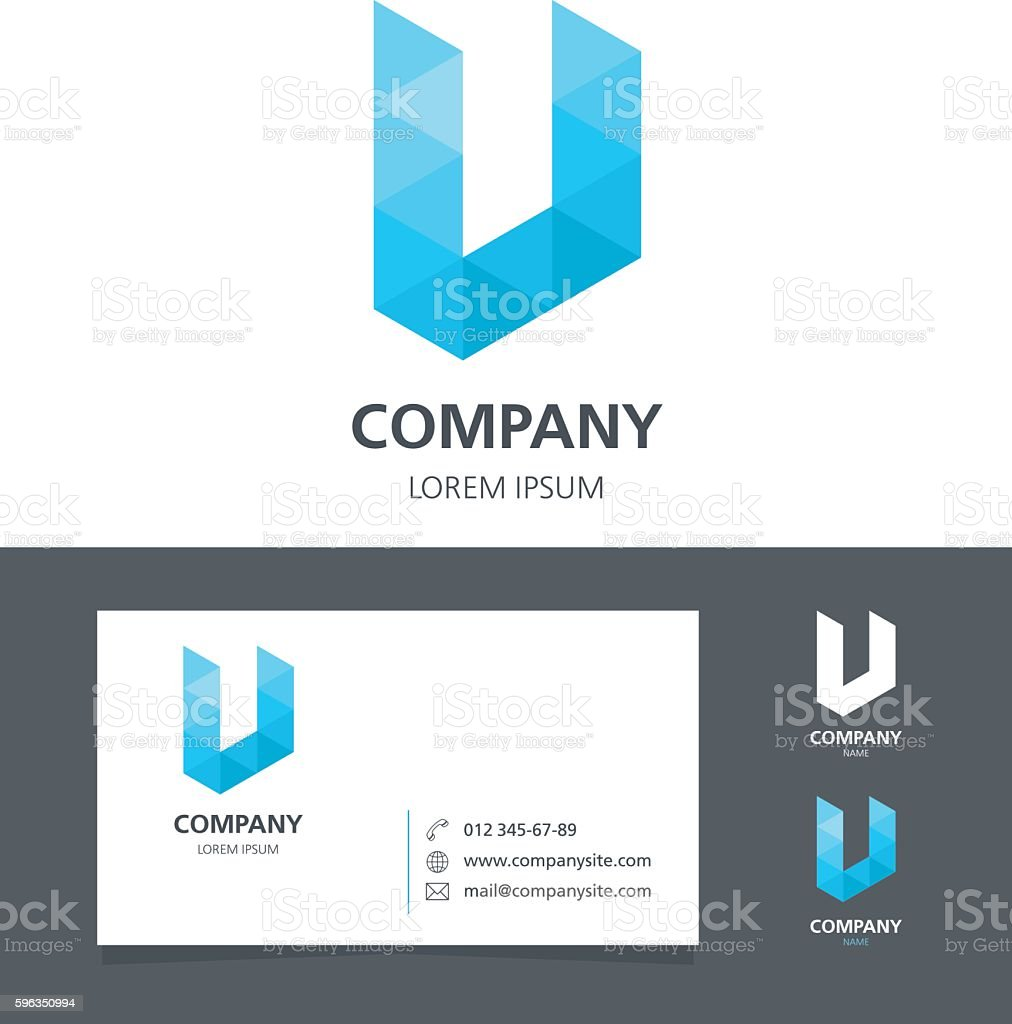 Letter U - Logo Design Element with Business Card vector art illustration