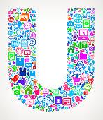 Letter U Modern Technology royalty free vector art Pattern