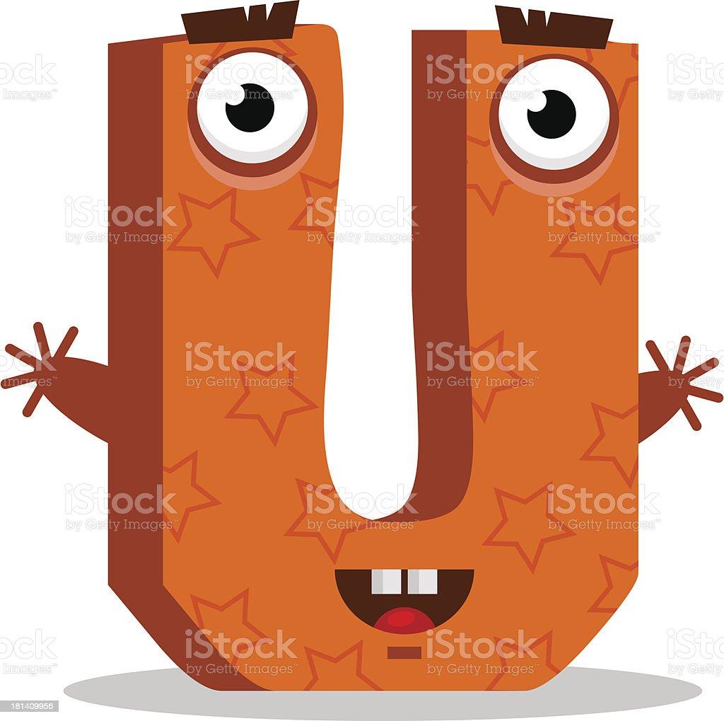 Letter U monster. Vector illustration. royalty-free stock vector art