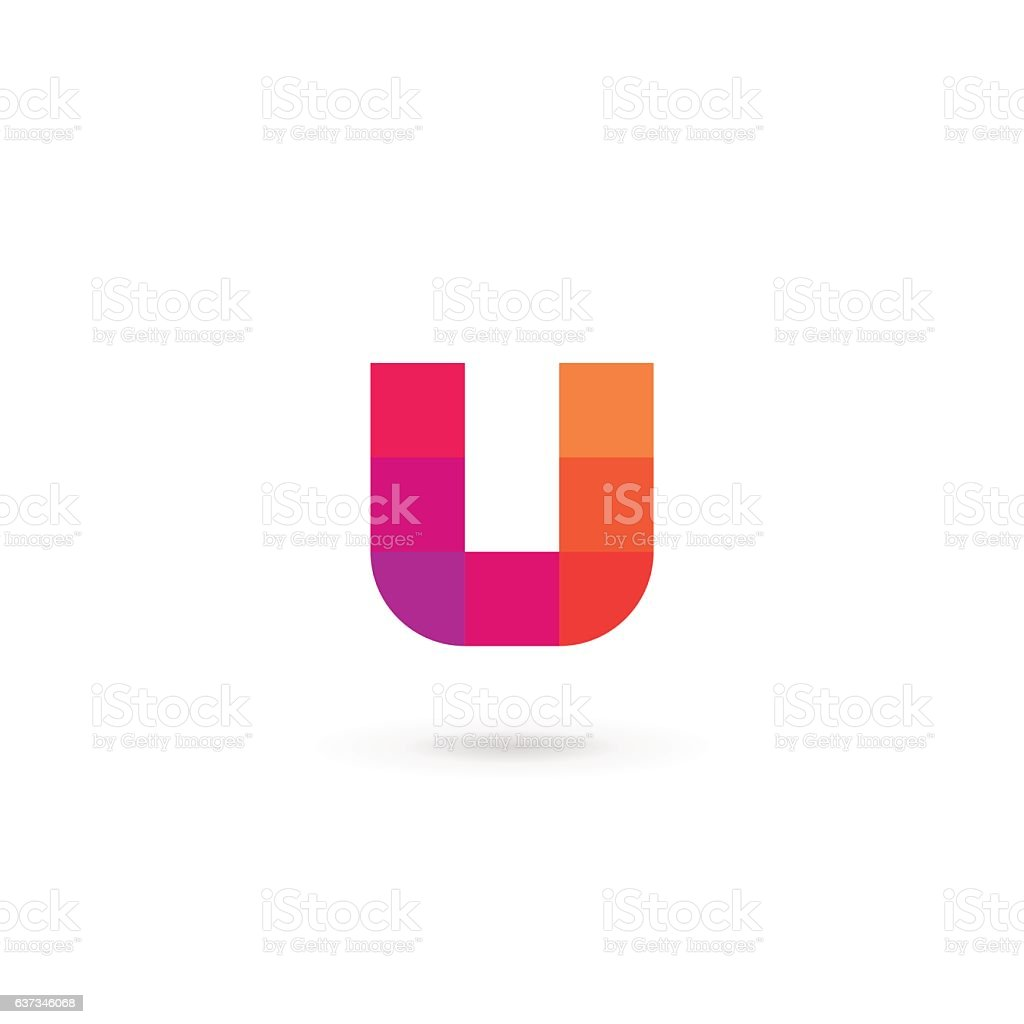 Letter U mosaic icon vector art illustration