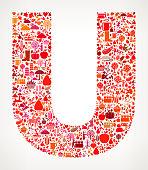 Letter U on Autumn Seasonal royalty free vector art Pattern