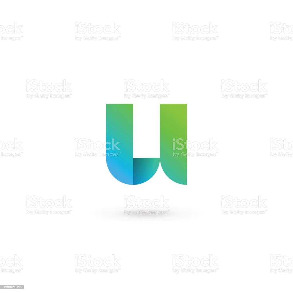 Letter U ribbon icon vector art illustration