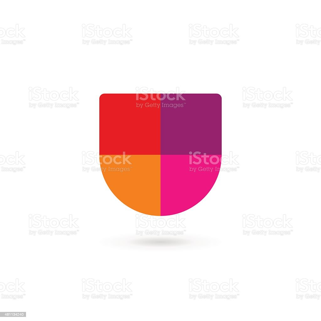 Letter U shield icon design template elements vector art illustration