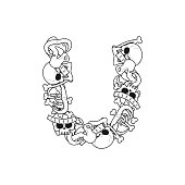 Letter U skeleton Bones Font. Anatomy of an alphabet symbol. dead ABC sign