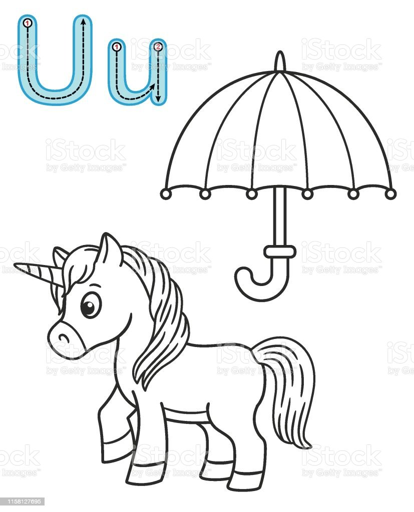 Letter U Unicorn Umbrella Vector Coloring Book Alphabet Printable Coloring Page For Kindergarten And Preschool Stock Illustration Download Image Now Istock