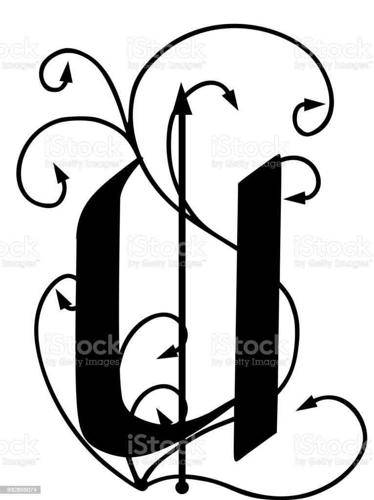Letter U With Arrows Stock Vector Art More Images Of Alphabet