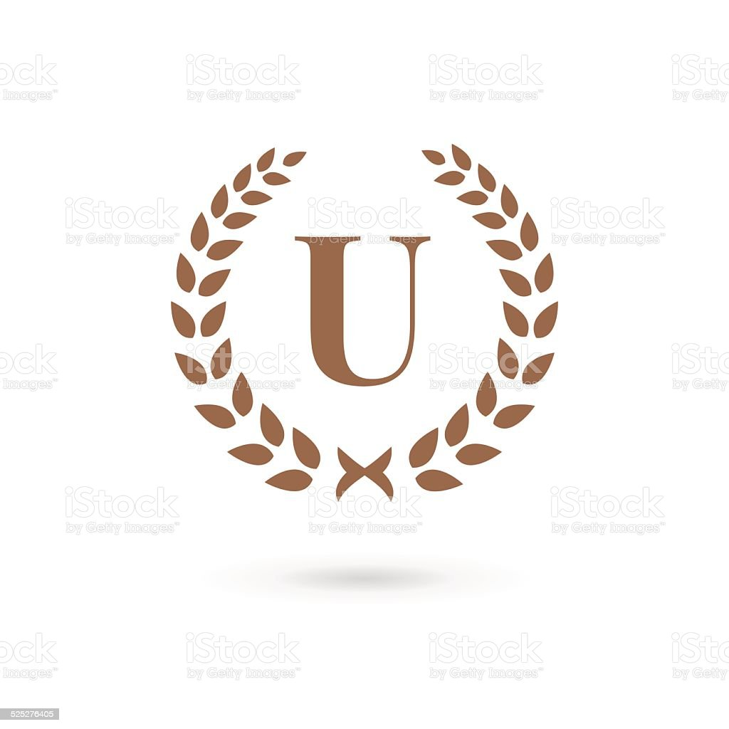 a3718bf5 Letter U With Laurel Wreath Icon Stock Vector Art & More Images of ...