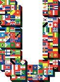 letter U with national flags pattern