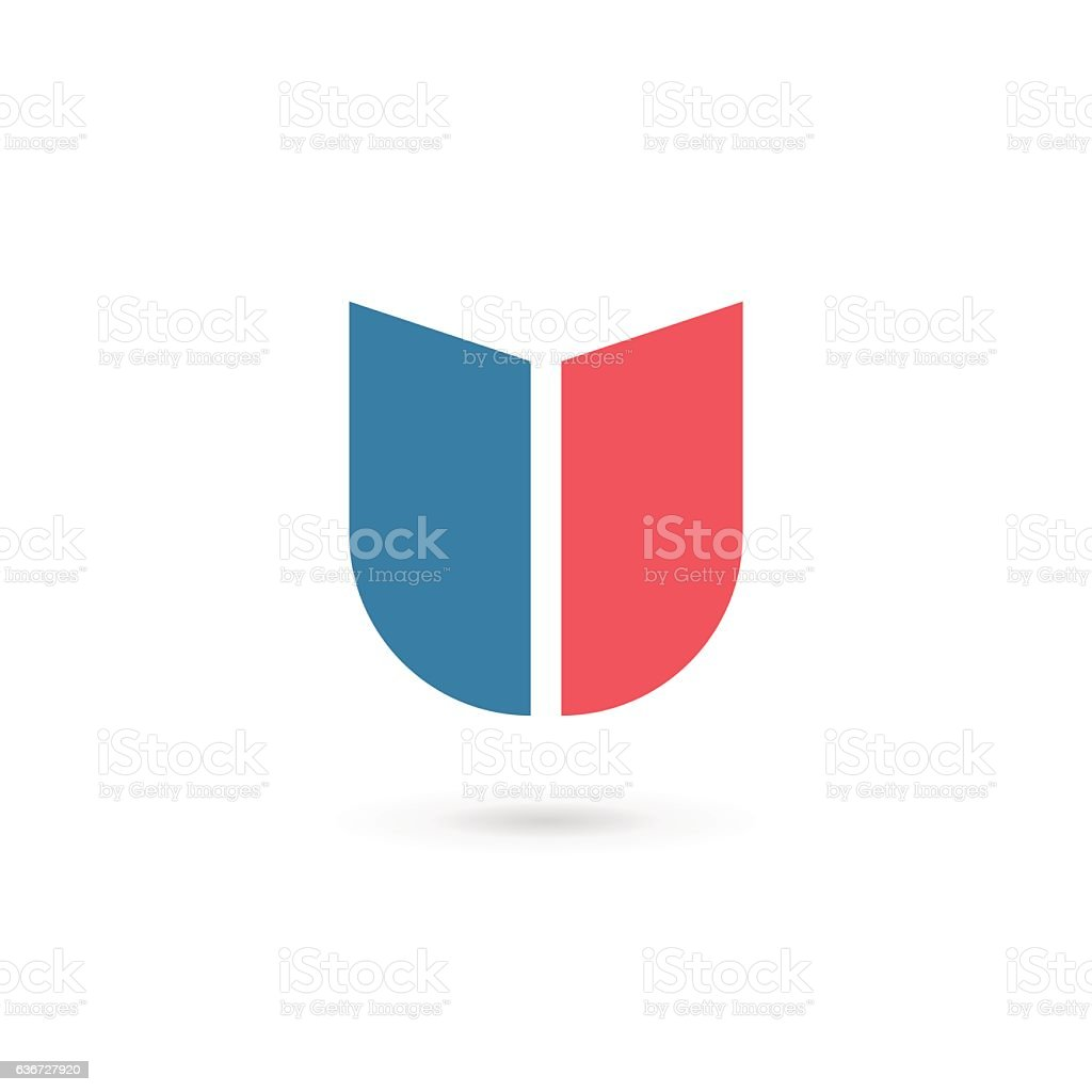 Letter U with shield icon vector art illustration