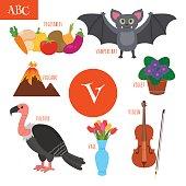 Letter V. Cartoon alphabet for children.