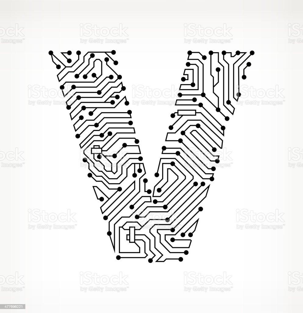 letter v circuit board on white background stock vector art  u0026 more images of alphabet