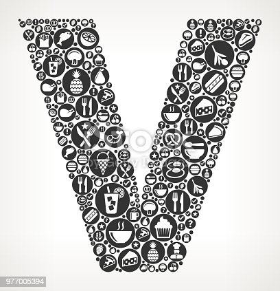 Letter V Food Black And White Icon Background Stock Vector Art
