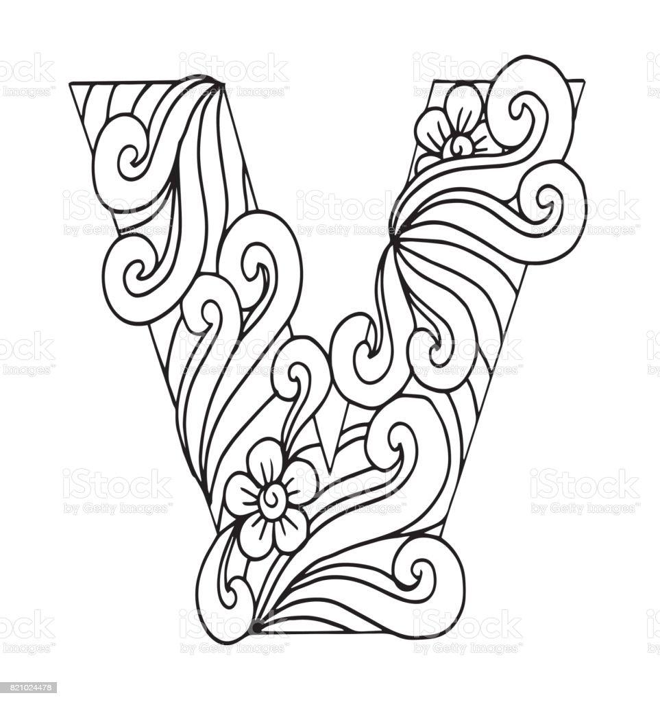 Ilustración De Letra V Para Colorear Objeto Decorativo De