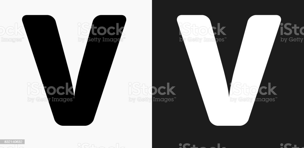 Letter V Icon On Black And White Vector Backgrounds Stock Vector Art