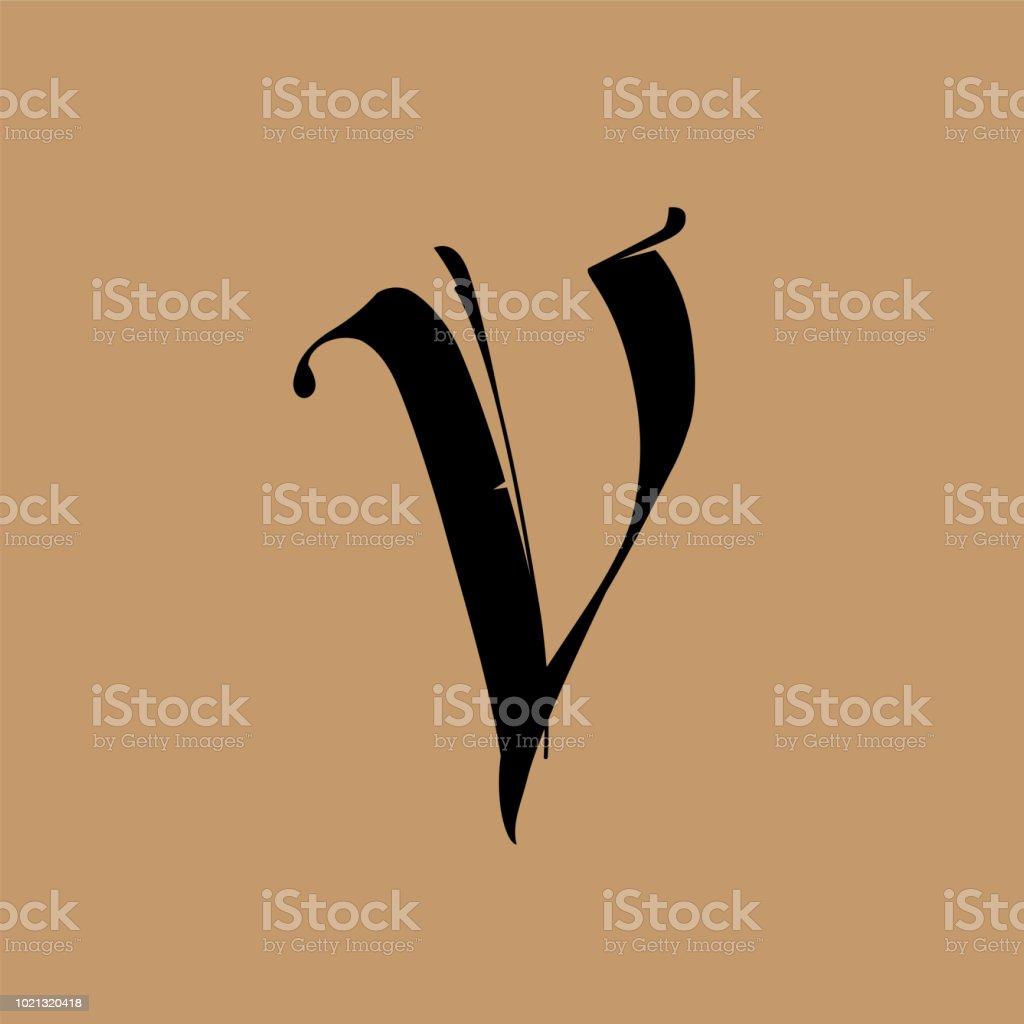 Ilustración De Letra V De Estilo Gótico Vector Alfabeto El Símbolo
