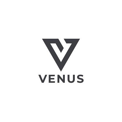 Letter V initial. Geometric V emblem.