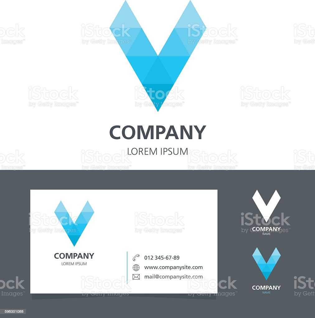Letter V - Logo Design Element with Business Card royalty-free letter v logo design element with business card stock vector art & more images of abstract