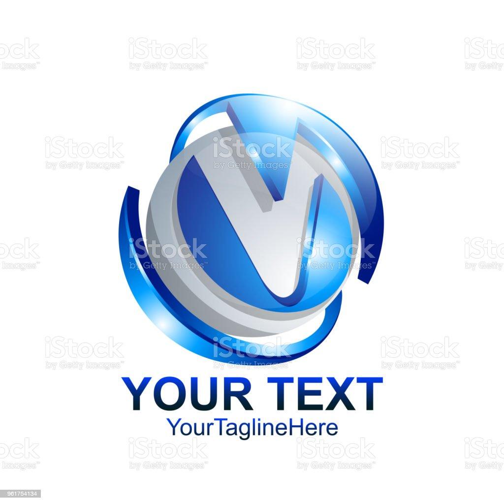 3dd3a36a8 Modelo de design de logotipo letra V cor prata círculo azul esfera design  para a identidade