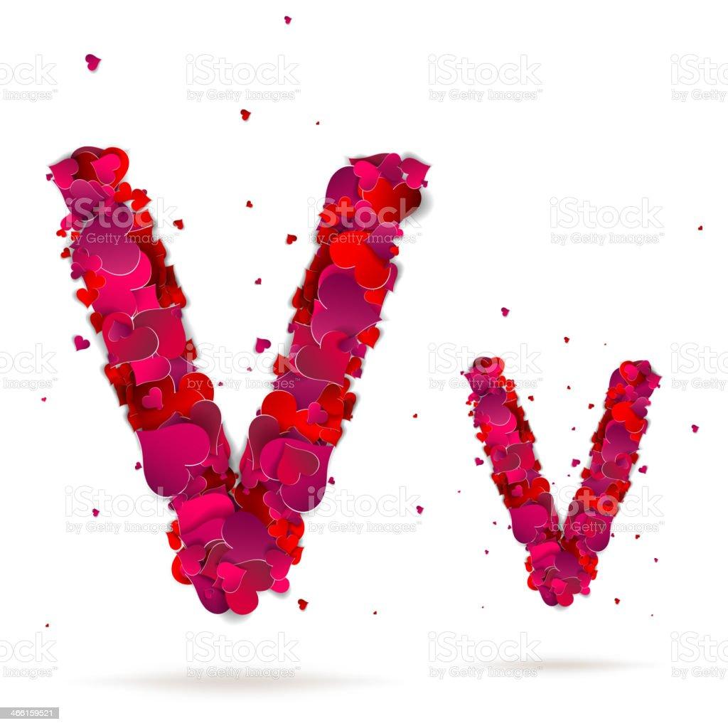 Letter v made from hearts. Love alphabet royalty-free stock vector art