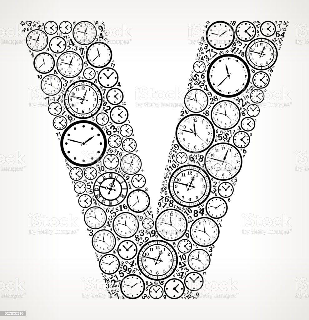 Letter V On Time And Clock Vector Icon Pattern Vektor Illustration ...