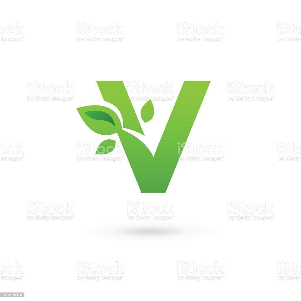 レター v eco リーブズエンブレムデザインテンプレート要素のアイコン
