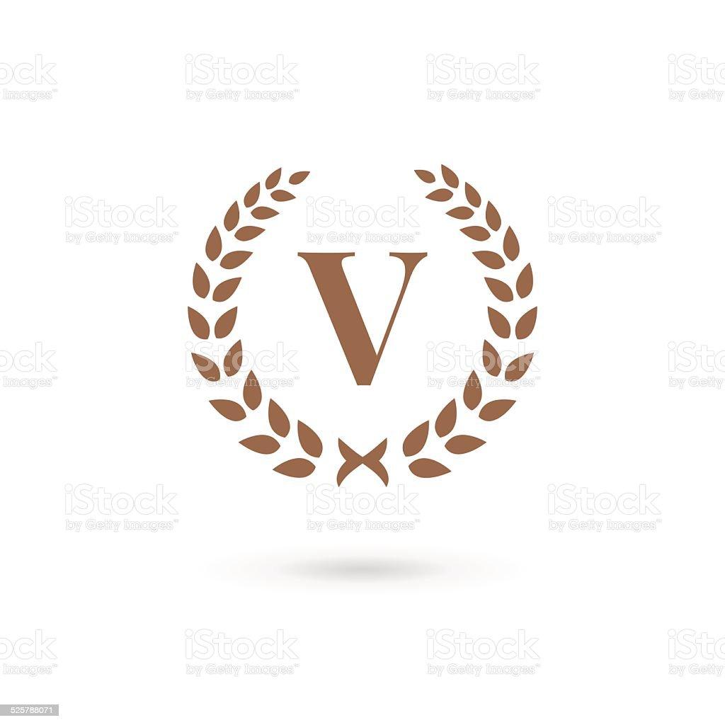 レター v 月桂冠エンブレムデザインテンプレート要素のアイコン
