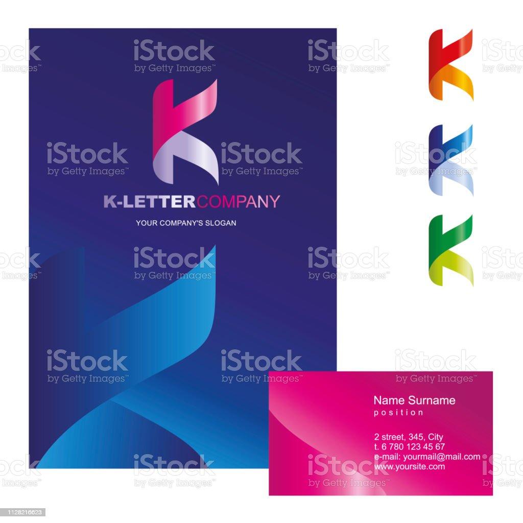 k 字母-向量徽標設計概念說明。k 字母是靈活的, 彎曲的, 標誌標誌的商業公司。企業身份證-訪問卡, 海報, 資料夾, 摺頁冊封面。 - 免版稅一個物體圖庫向量圖形