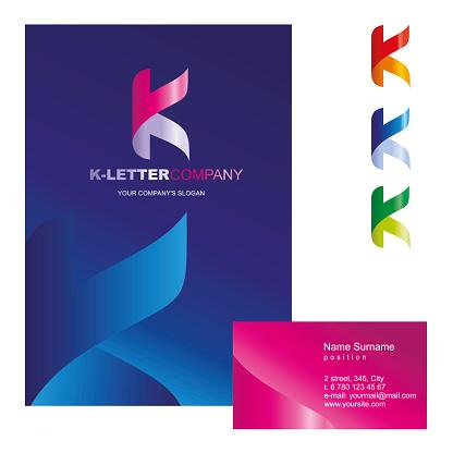 K 字母向量徽標設計概念說明k 字母是靈活的 彎曲的 標誌標誌的商業公司企業身份證訪問卡 海報 資料夾 摺頁冊封面向量圖形及更多一個物體圖片