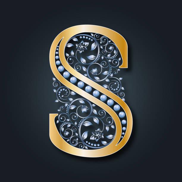 brief-vektor s. abc. goldene alphabet. heraldische symbol. initialen, monogramm. - perlenweben stock-grafiken, -clipart, -cartoons und -symbole