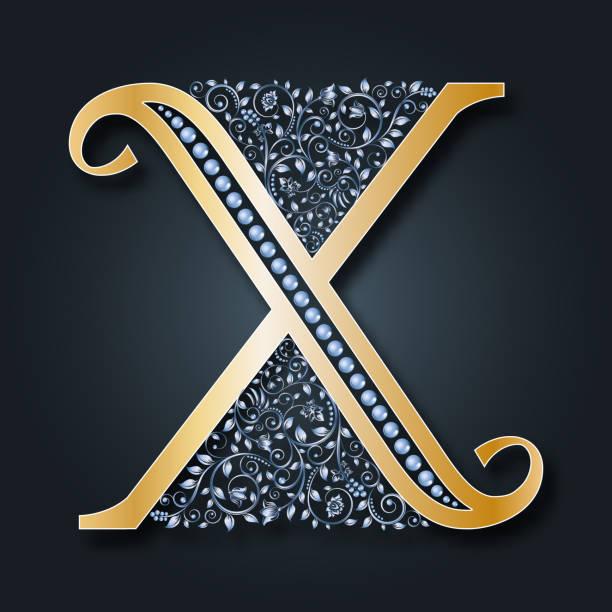 brief-vektor x. abc. goldene alphabet. heraldische symbol. monogramm, initialen. - perlenweben stock-grafiken, -clipart, -cartoons und -symbole