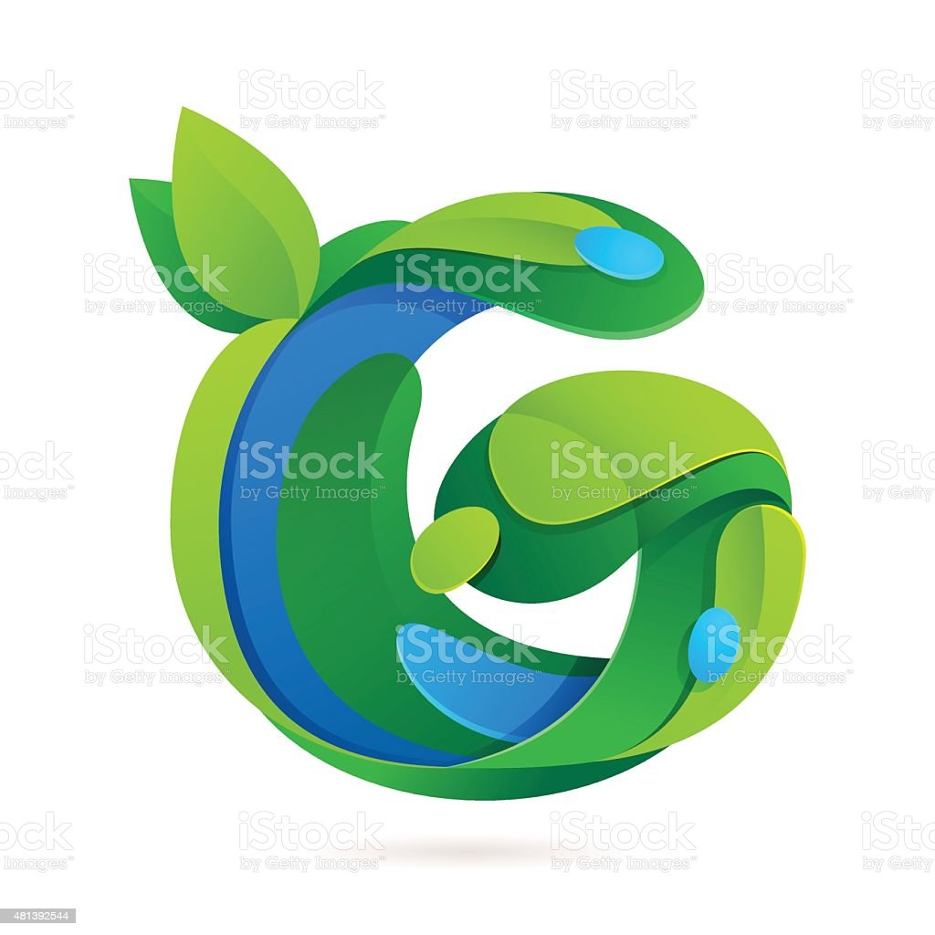 G letter volume ecology icon with leaves and water drops stock g letter volume ecology icon with leaves and water drops royalty free g letter volume altavistaventures Gallery