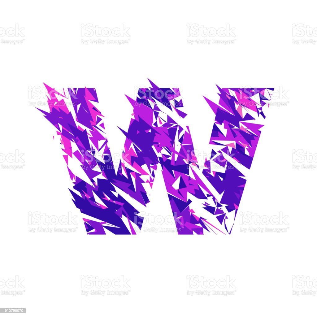 Letter W, broken into a splinters. vector art illustration