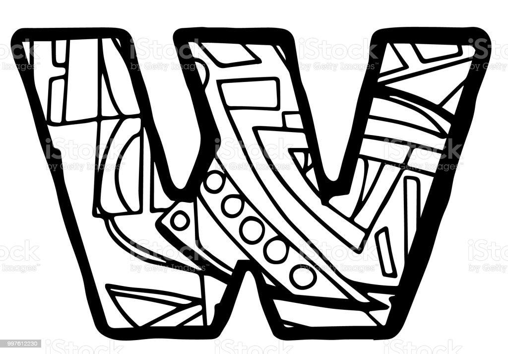 Mektup W Boyama Sayfası Stok Vektör Sanatı Alfabenin Daha Fazla