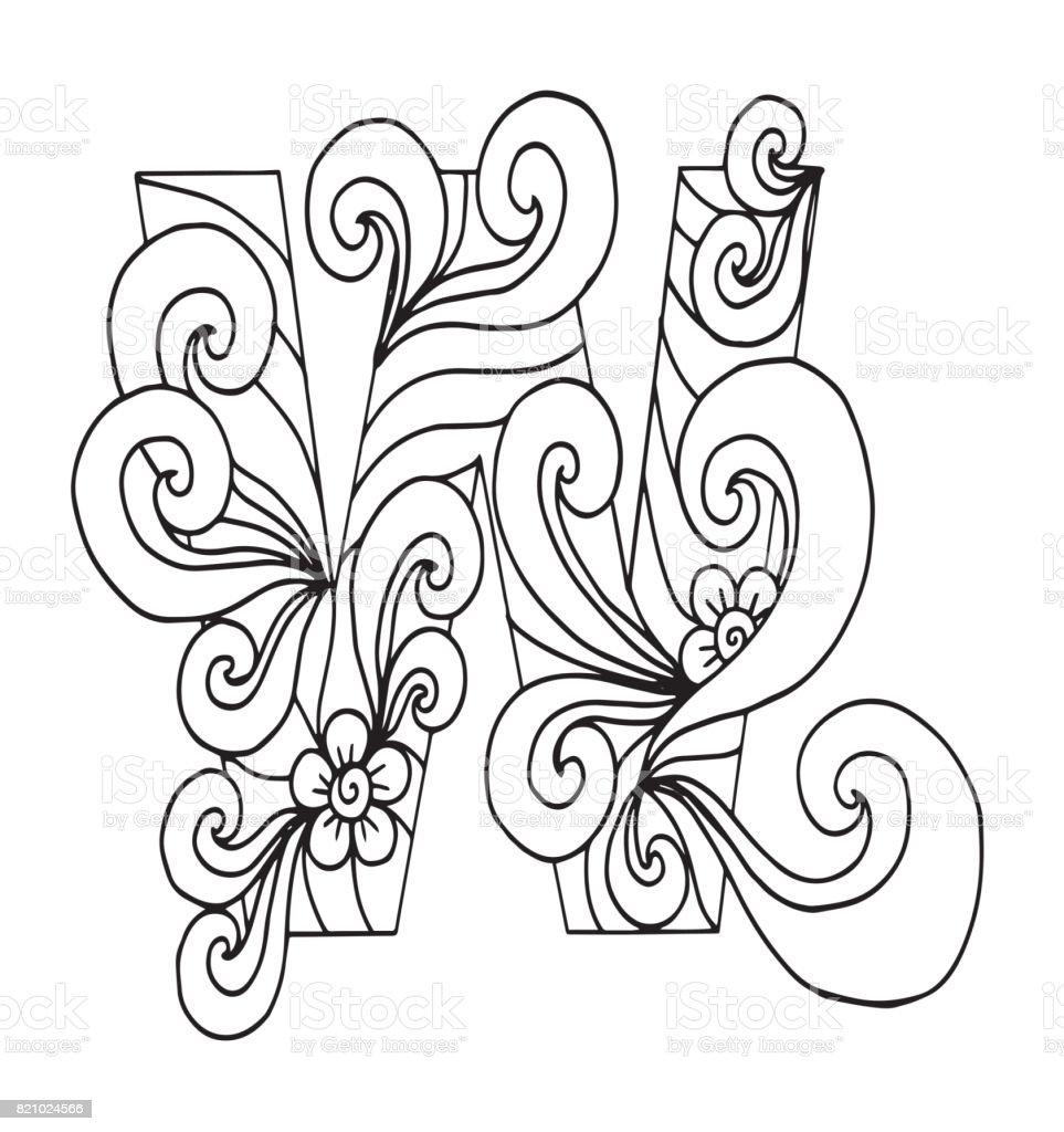 Ilustración de Letra W Para Colorear Objeto Decorativo De Vector ...