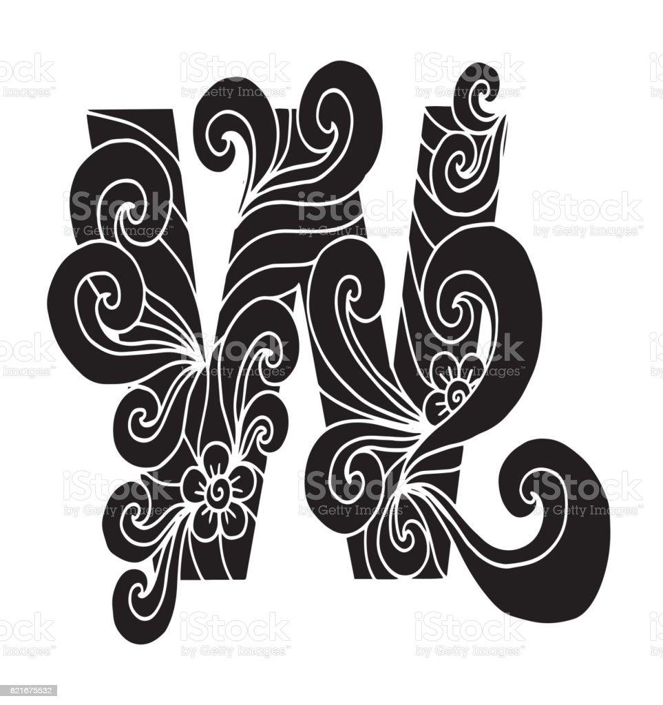 Letra W Para Colorear Objeto Decorativo De Vector Ilustración ...