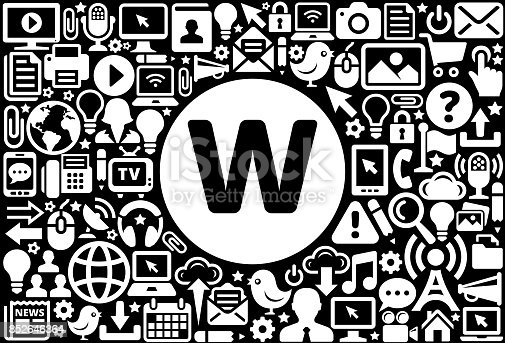 istock Letter W Icon Black and White Internet Technology Background 852646364