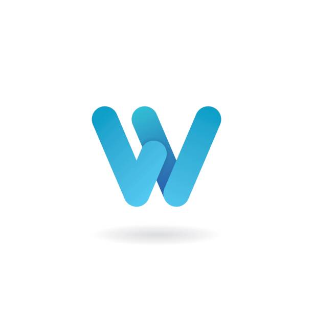 Letter W logo. Blue vector icon. Ribbon styled font. Letter W logo. Blue vector icon. Ribbon styled font w logo stock illustrations