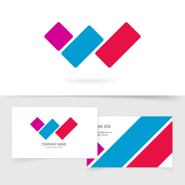 Letter w logo vector concept with business card, red blue violet color gradient logotype symbol isolated on white, idea of three parallel lines brand sign, modern trendy design Letter w logo vector concept with business card, red blue violet color gradient logotype symbol isolated on white background, idea of three parallel lines brand sign, modern trendy design w logo stock illustrations