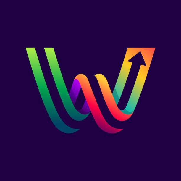 Letter W logo with arrow inside. Vector bright colours typeface for delivery labels, business headlines, finance posters, sport cards etc. w logo stock illustrations