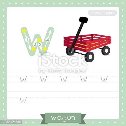 istock Letter W lowercase tracing practice worksheet of Wagon 1252124559