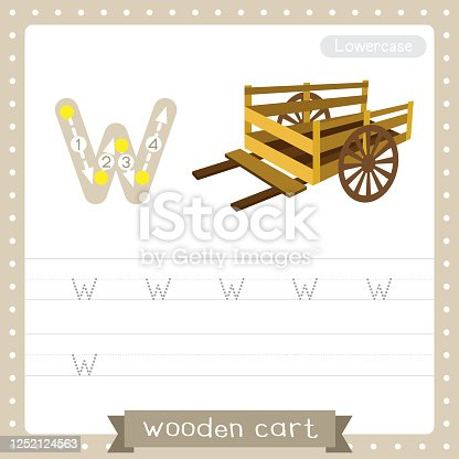 istock Letter W lowercase tracing practice worksheet of Wooden Cart 1252124563