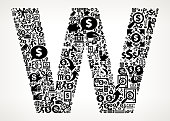 Letter W Money and Finance Black and White Icon Background. This financial illustration is created with numerous black money and business icons that form a seamless vector pattern. All the digital icons are relevant to the financial industry, money management, home finances and economy. They form the main object of the composition on a background with a slight gradient. The icons are detailed and can be used separately from the main illustration. They include such classic financial symbols as the dollar sign, banking, wallet and many more.