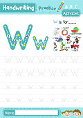 Letter W uppercase and lowercase cute children colorful ABC alphabet trace practice worksheet for kids learning English vocabulary and handwriting layout in A4 vector illustration.