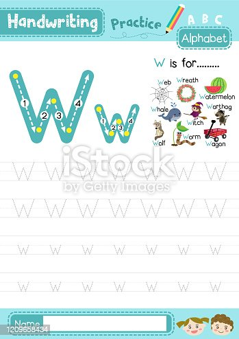 istock Letter W uppercase and lowercase tracing practice worksheet A4 1209658434