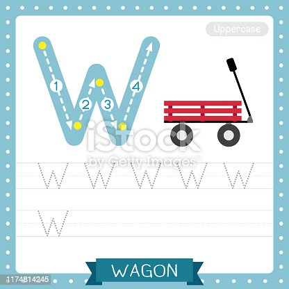 istock Letter W uppercase tracing practice worksheet. Wagon 1174814245