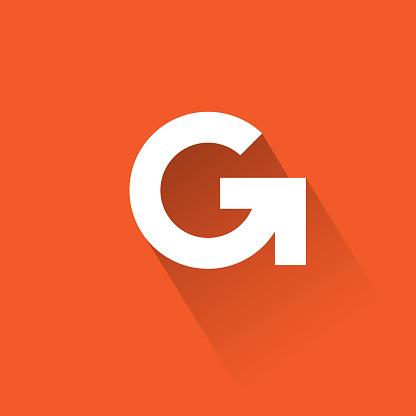 G letter for digital space, UI icon, internet, online communication.