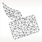 Letter & Wings  Triangle Node Black and White Pattern. The main object depicted in this royalty free vector illustration is created with the triangular line pattern. The individual lines form nodes with small circles on each of the vertices. The background is white with a slight gradient around the edges.