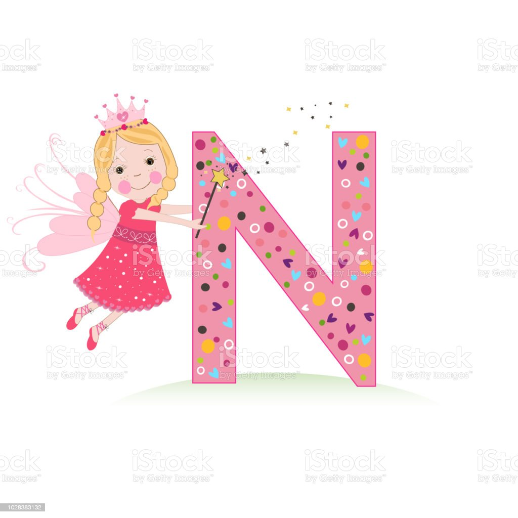N Letter With A Cute Fairy Tale Vector Stock Vector Art & More ...